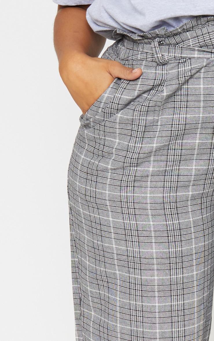Plus Grey Paperbag Checked  Wide Leg Pants 5