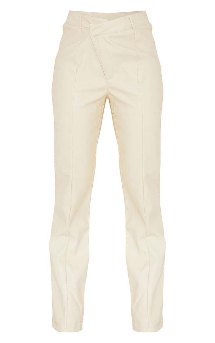 Cream Faux Leather V Front Skinny Trousers 5