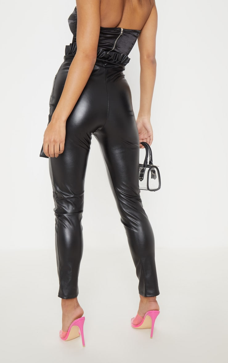 Black Faux Leather Paper bag Skinny Pants 4
