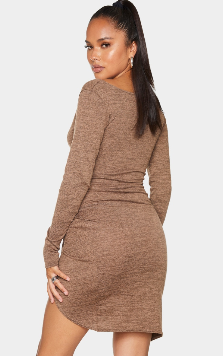 Chocolate Ruched Wrap Detail Bodycon Dress 2
