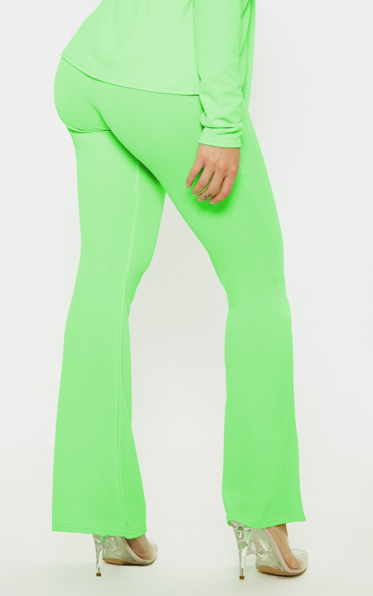 Petite Neon Lime Flare Pants  4
