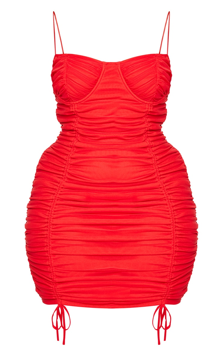 Plus Red Mesh Cup Detail Ruched Spaghetti Strap Bodycon Dress 5