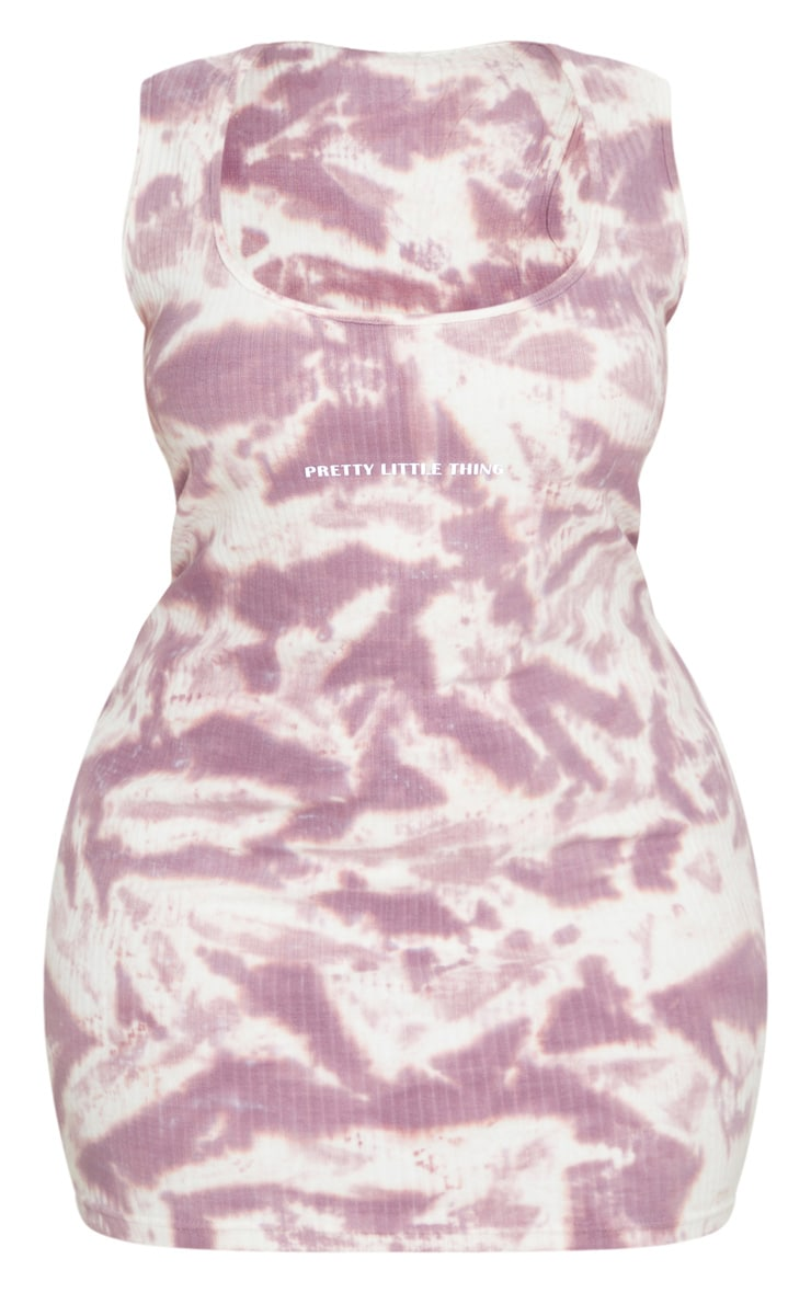 PRETTYLITTLETHING Plus Mauve Tie Dye Rib Bodycon Dress 5