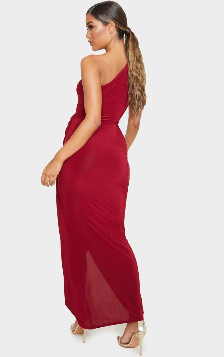 Burgundy Slinky Drape Detail One Shoulder Maxi Dress 2