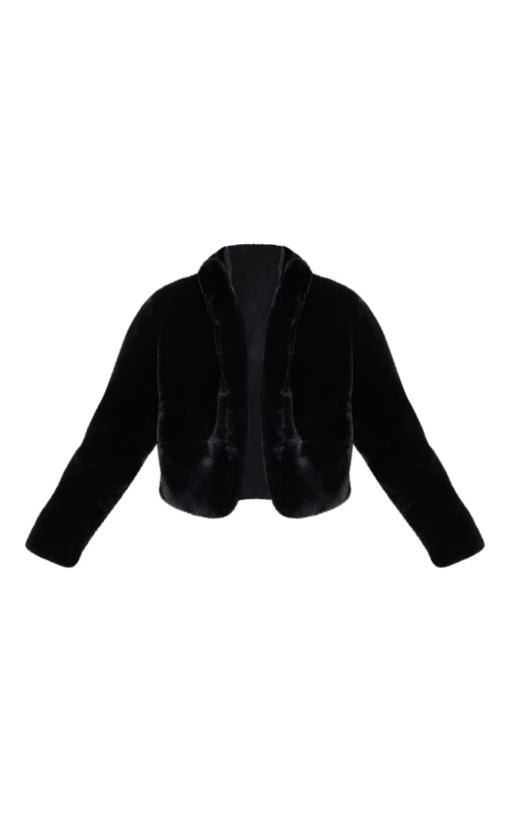 Black Collar Faux Fur Jacket 3