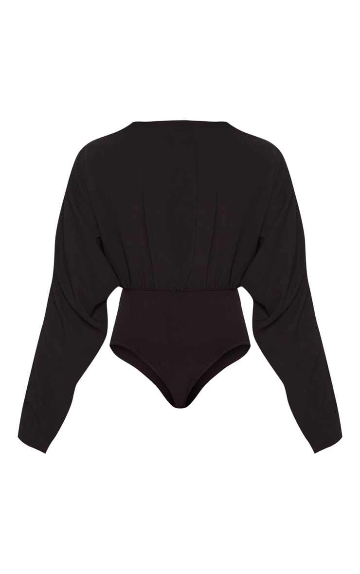 Tall Black Plunge Long Sleeve Bodysuit 5