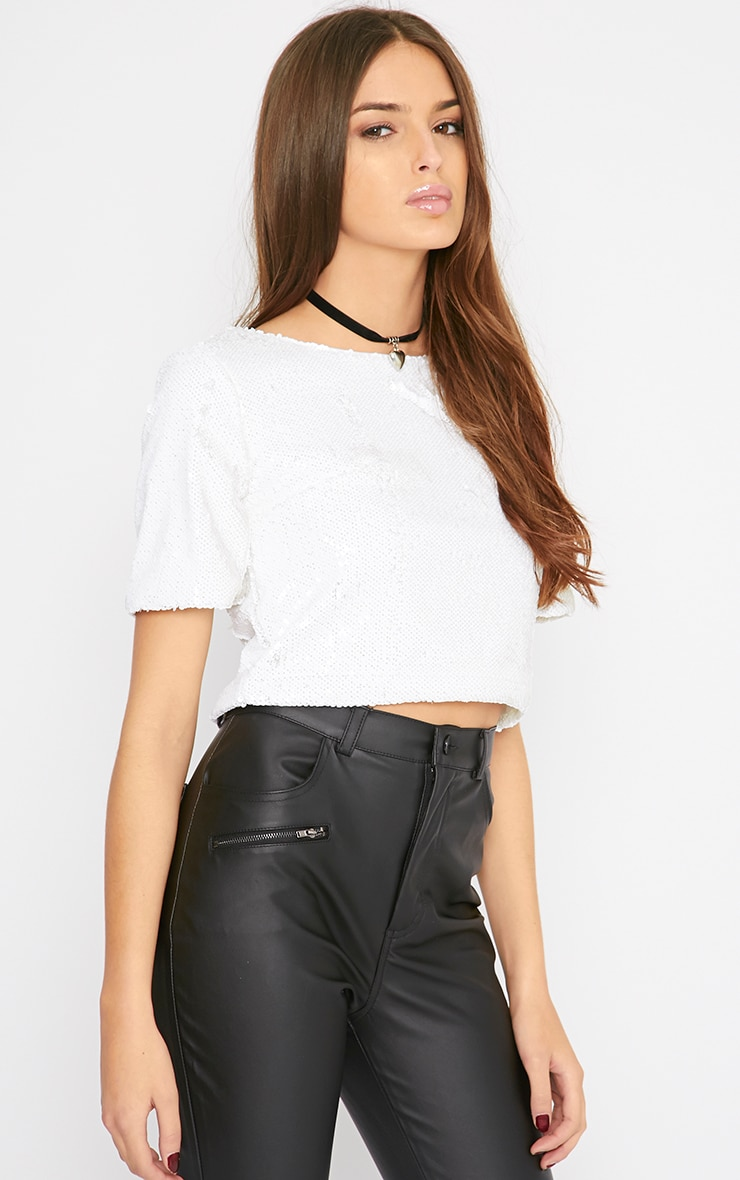 Janetta White Sequin Crop Top  4
