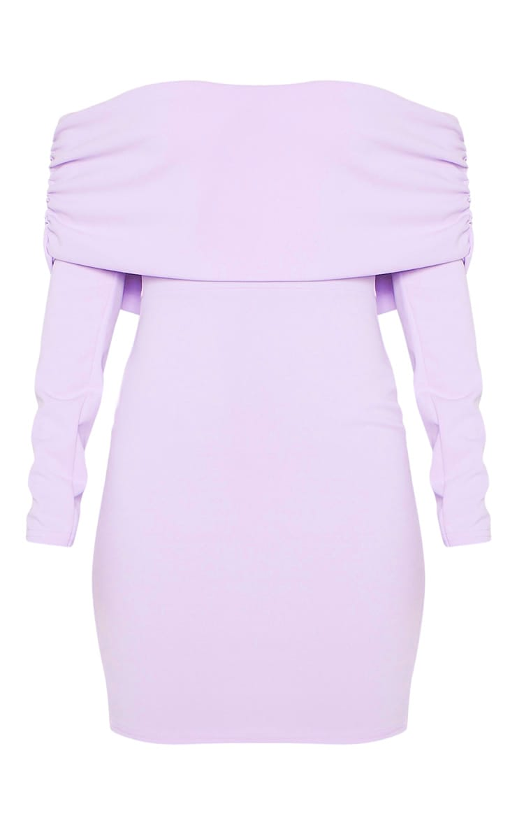 Lilac Bardot Ruched Detail Bodycon Dress 3