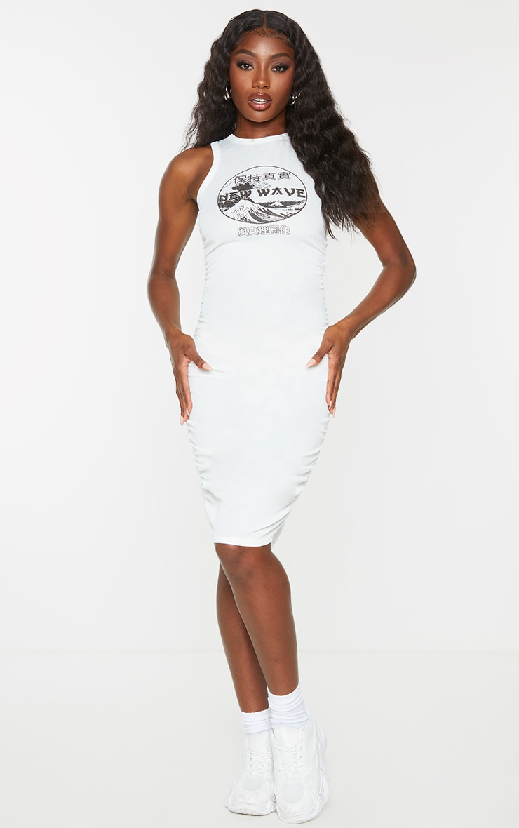 Cream New Wave Printed Ruched Rib Bodycon Dress 1