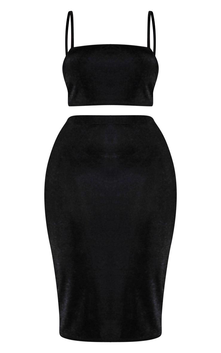 Plus Black Slinky Crop Top & Midi Skirt Set 3