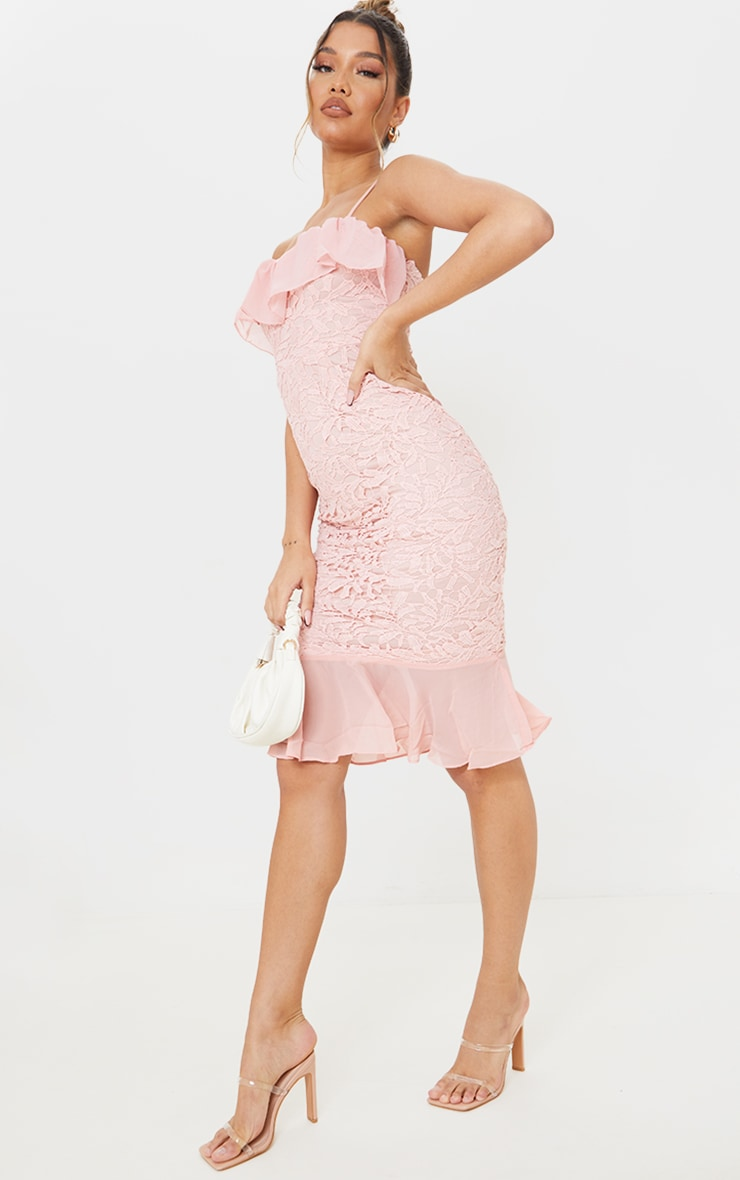 Dusty Pink Chiffon Frill Strappy Lace Midi Dress 3