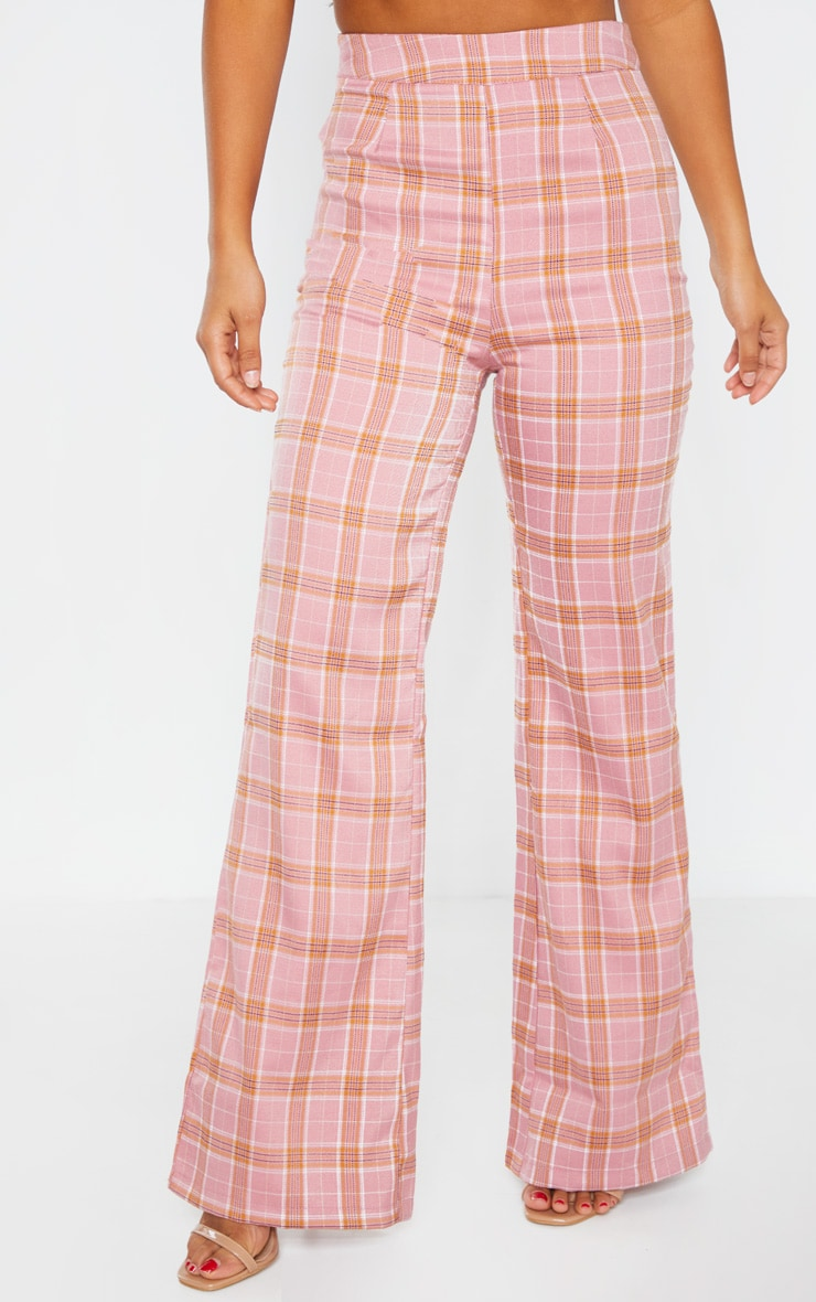 Petite Coral Checked Trousers 2