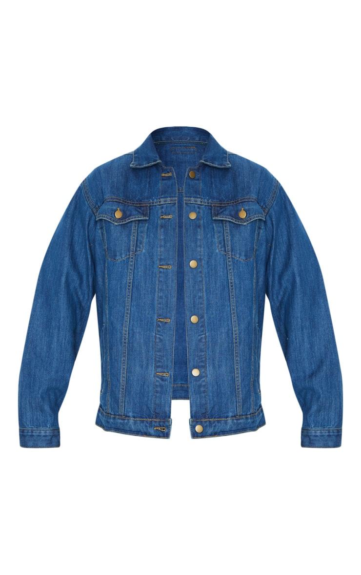 Dark Blue Wash Oversized Boyfriend Denim Jacket 5