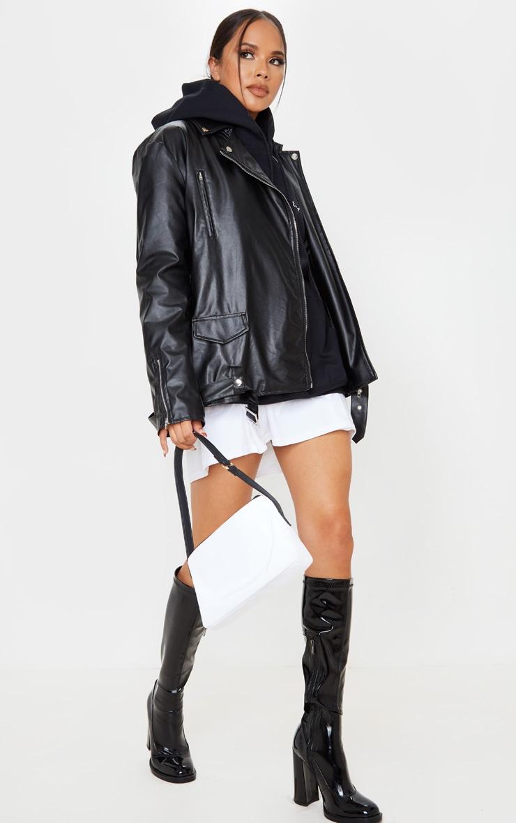 Black Faux Leather Oversized Biker Jacket 1