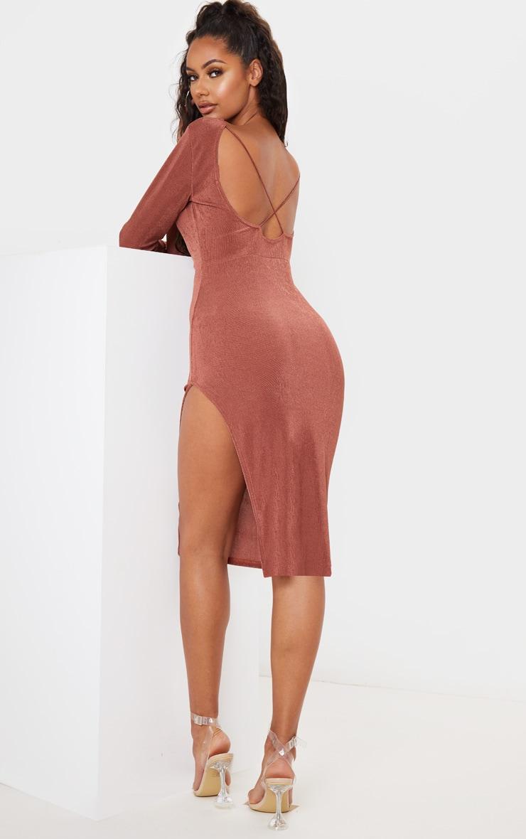 Chocolate Brown Textured Slinky Long Sleeve Cross Back Midi Dress 1