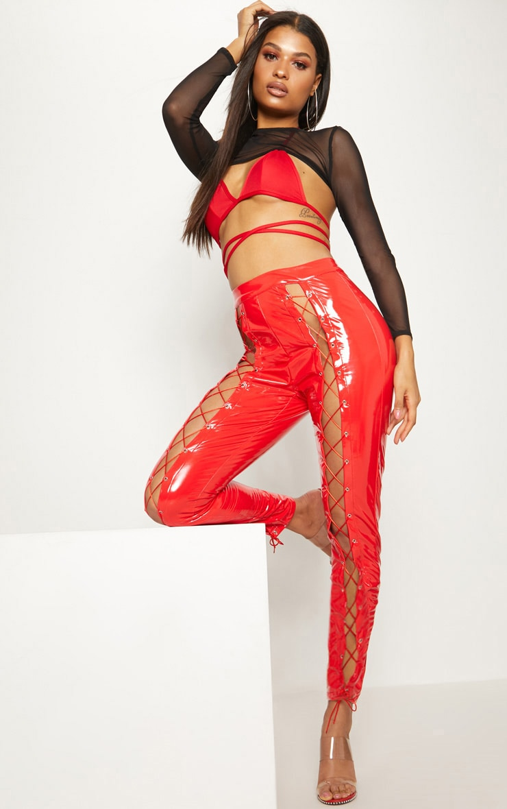 Red Vinyl Lace Up Detail Trouser