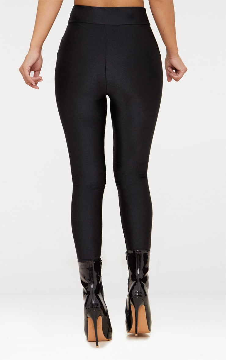 Petite Black Disco Slinky High Waisted Leggings 4