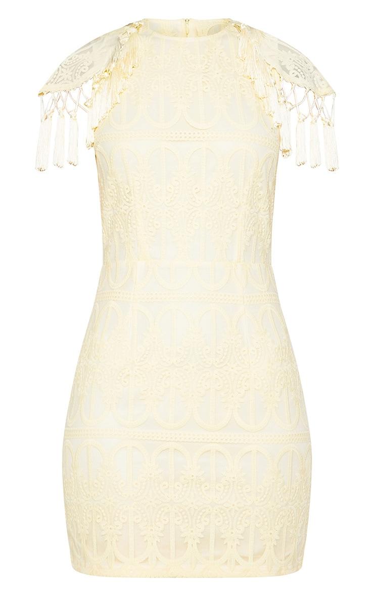 Lemon Lace Tassel Cape Detail Bodycon Dress 3