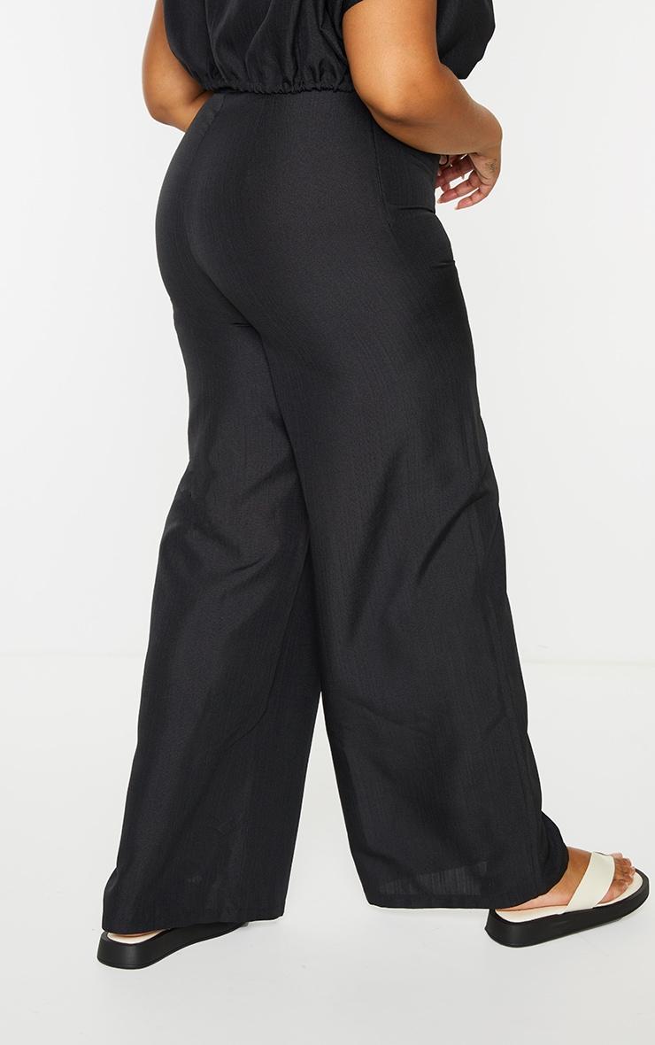 Plus Black High Waist Wide Leg Trousers 3