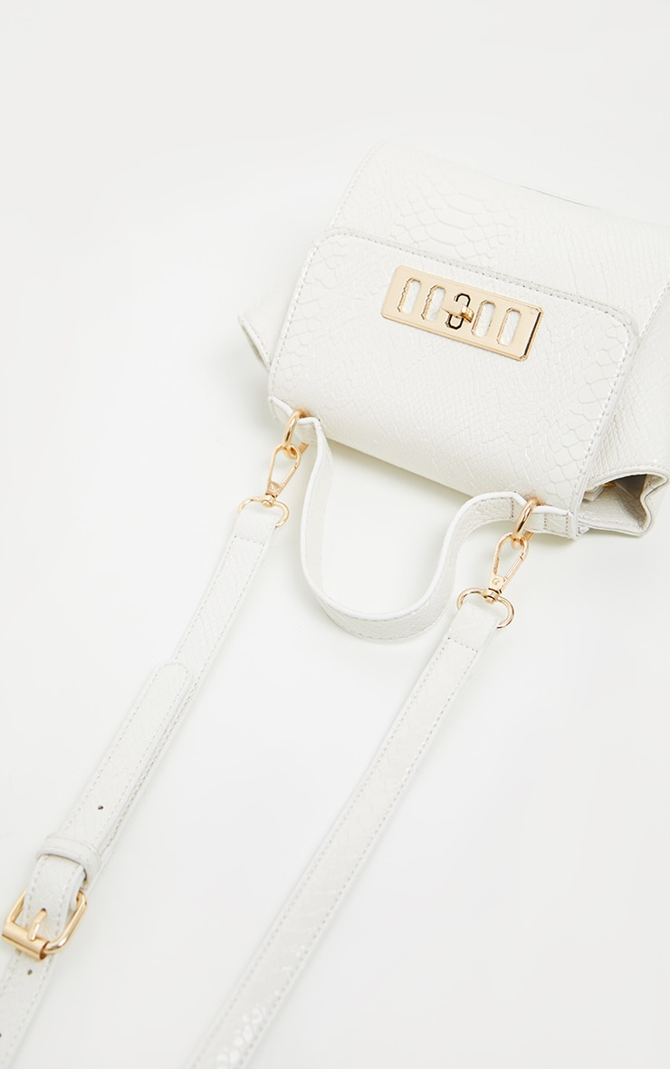 White Croc Metal Fastening Mini Bag 2