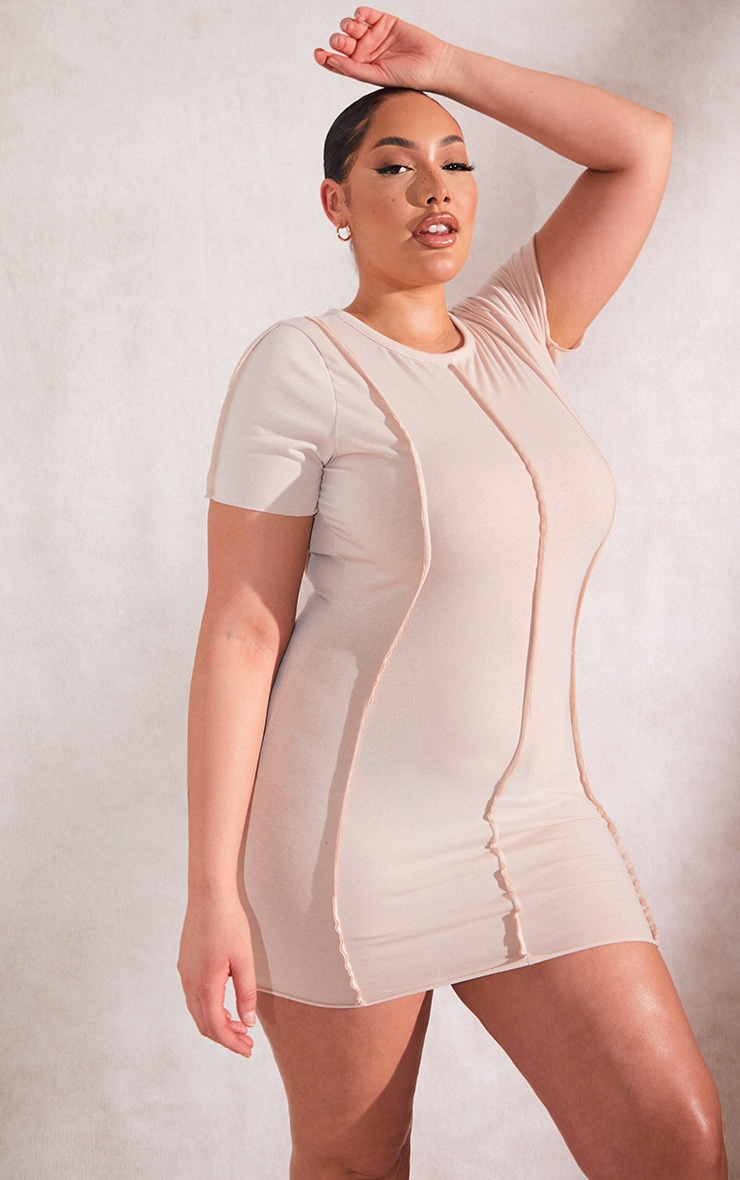 RECYCLED Plus Beige Jersey Raw Seam Short Sleeve Bodycon Dress