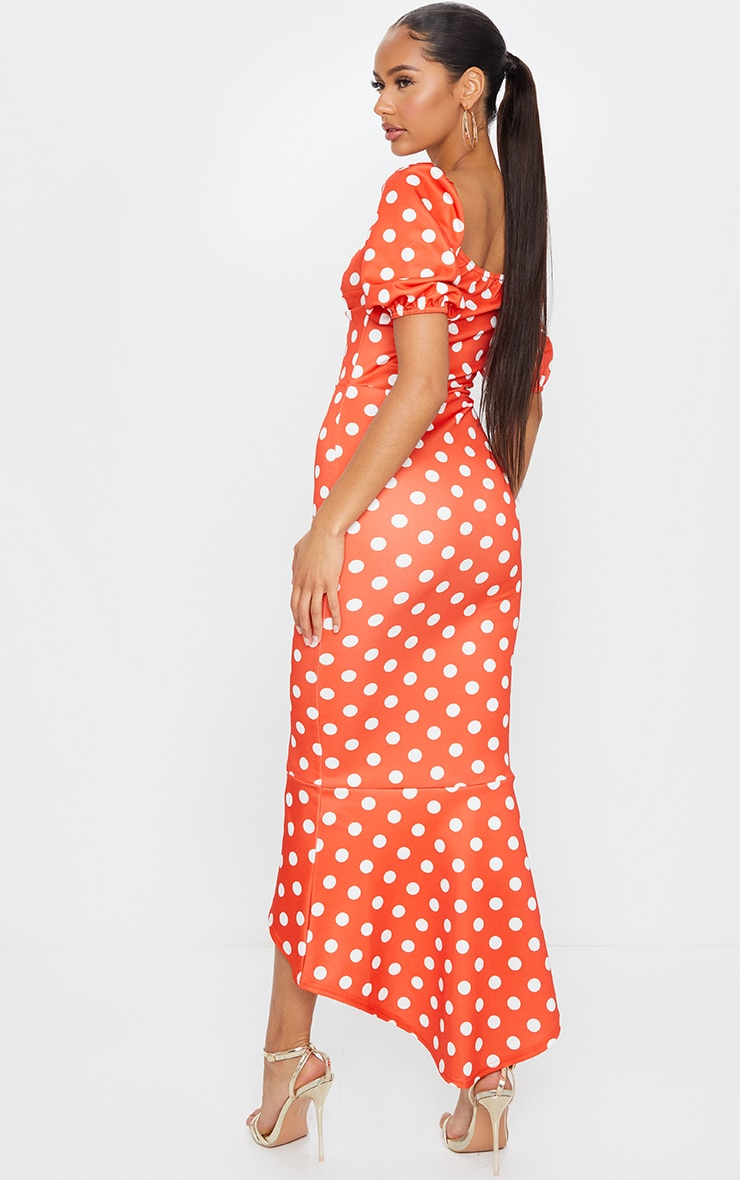 Rust Polka Dot Twist Detail Puff Sleeve Midi Dress 2