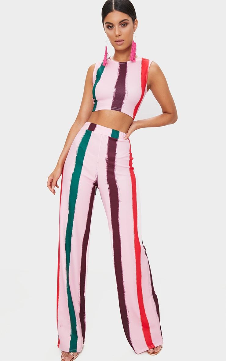 Light Pink Multi Thick Stripe Curve Hem Crop Top 4