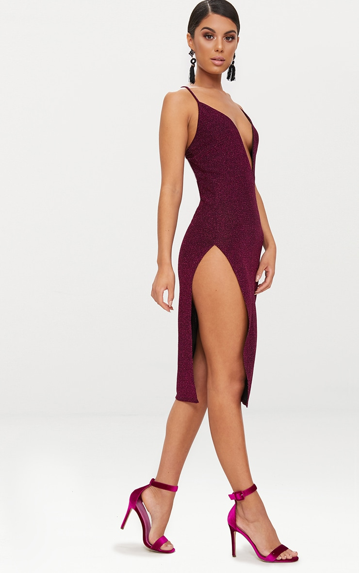Fuchsia Glitter Strappy Plunge Extreme Split Midi Dress 4