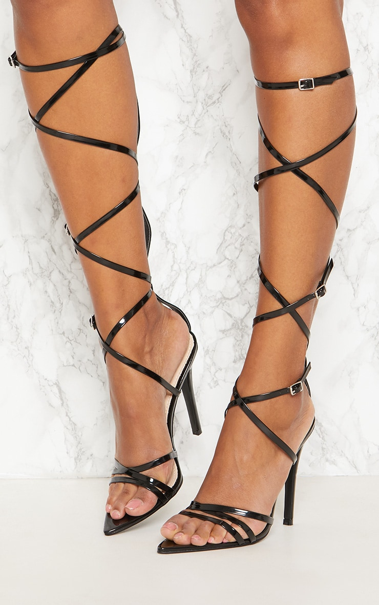 Black Extreme Gladiator Point Heels 2