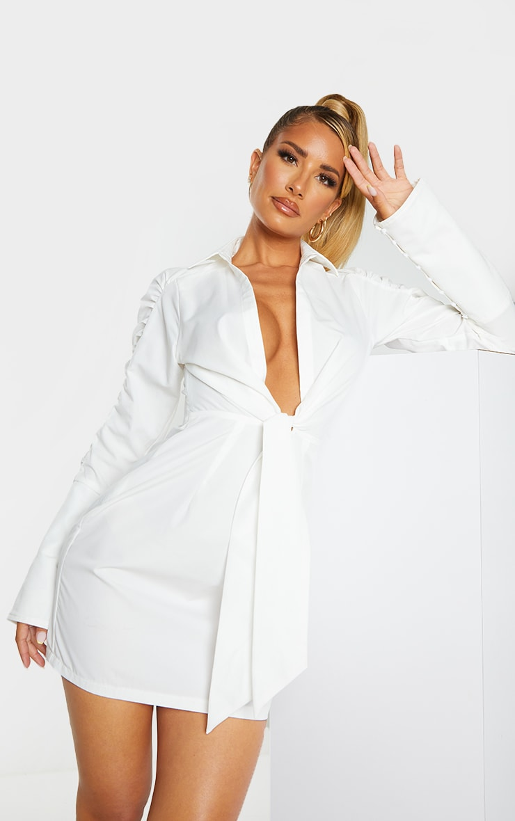 White Ruched Sleeve Plunge Drape Detail Shirt Dress 1
