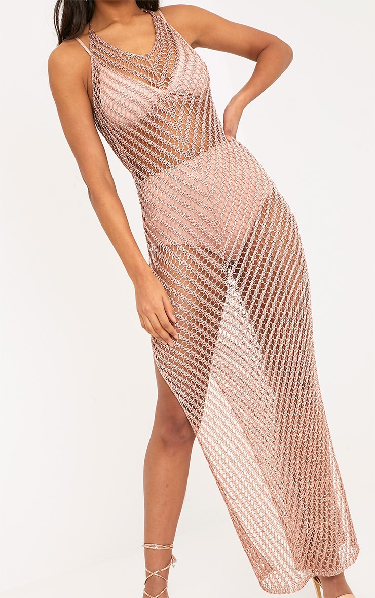 Paizlee Rose Gold Metallic Knit Halter Neck Dress 4