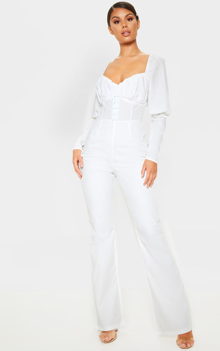 d977aa59c97 White Puff Sleeve Lace Up Waist Jumpsuit image 1