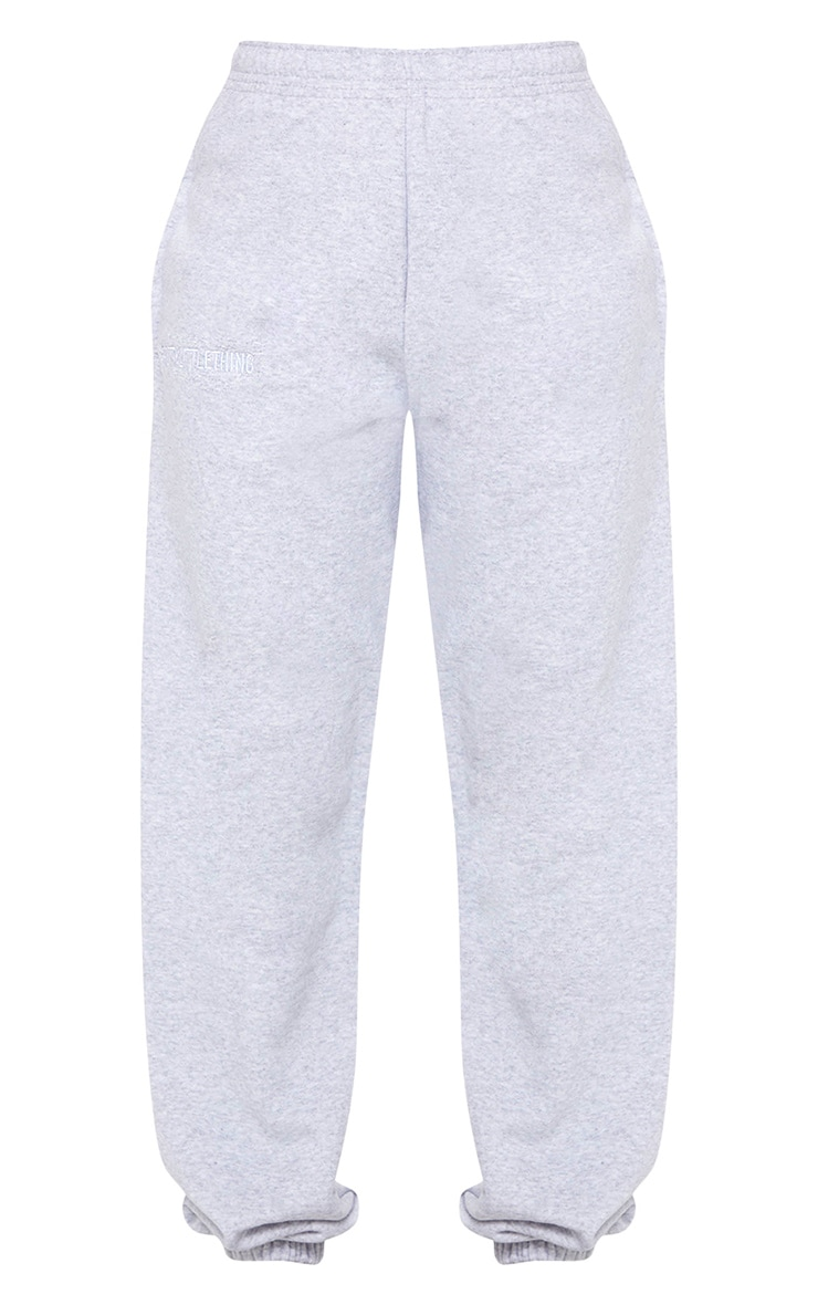 PRETTYLITTLETHING Grey Marl Embroidered Slogan Joggers 5