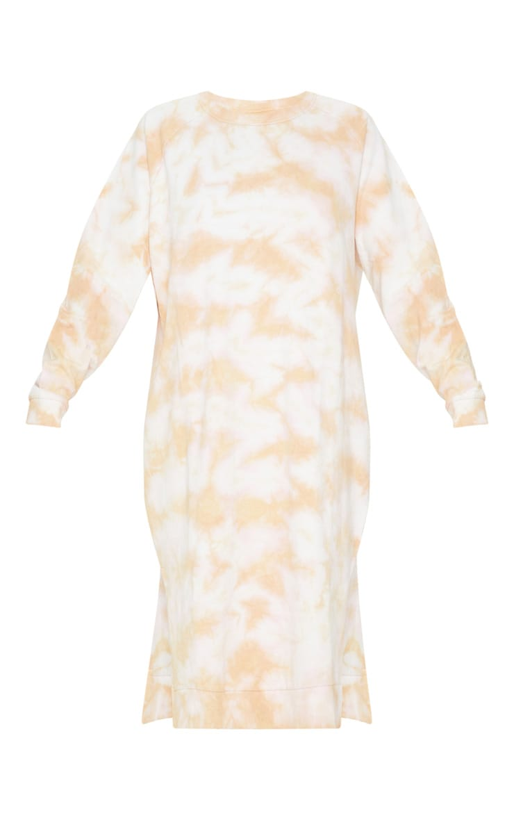 Blush Tie Dye Oversized Long Sleeve Sweat Midi Dress 3