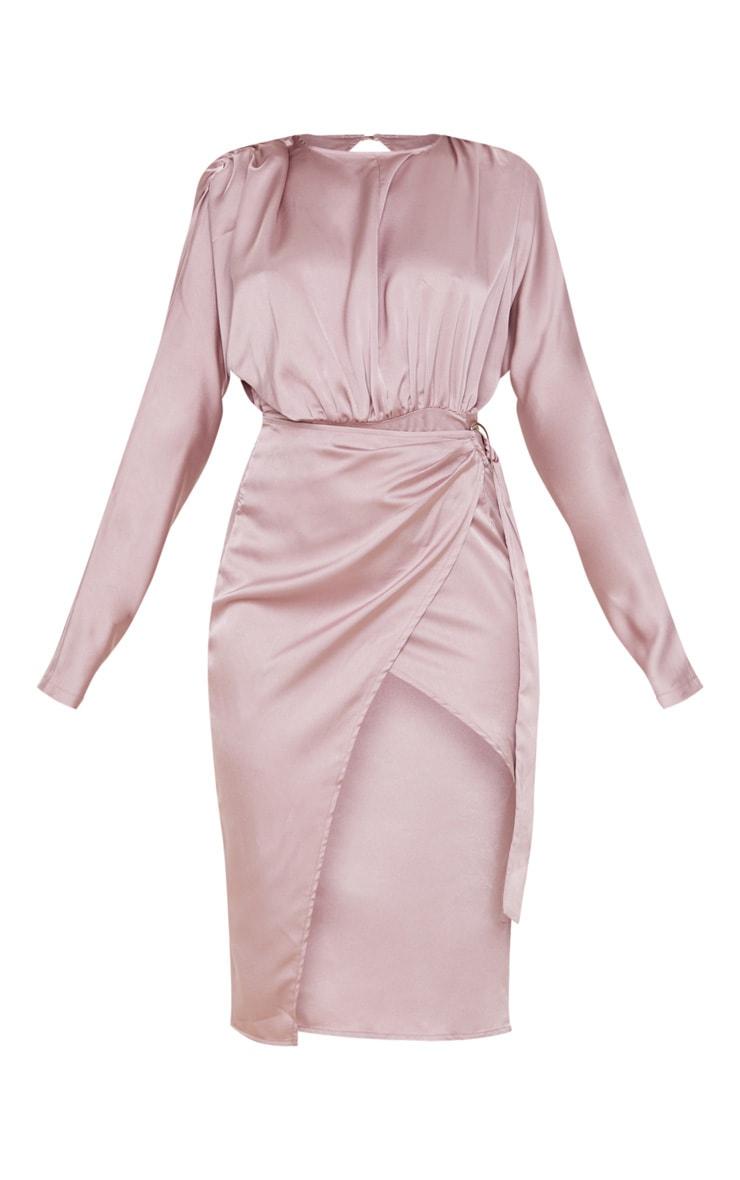 Mauve Satin Wrap Skirt Backless Midi Dress 3