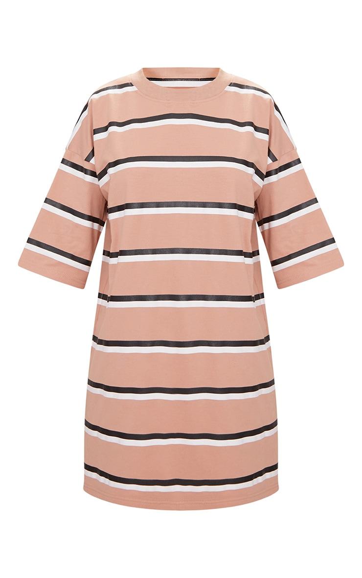 Recycled Camel Oversized Striped Boyfriend T Shirt Dress 5