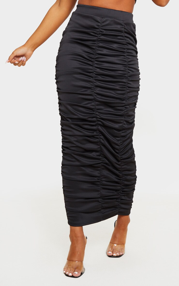 Black Scuba Double Ruched Midaxi Skirt 3