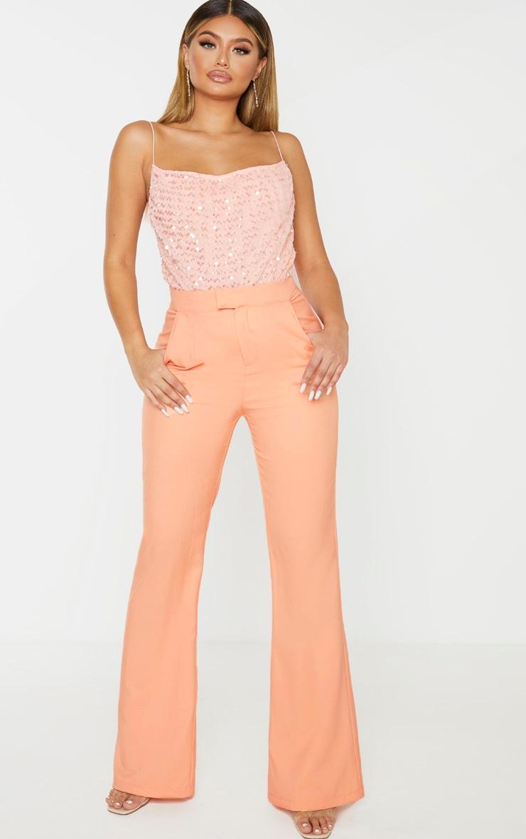 Pink Sequin Cowl Neck Strappy Bodysuit  3