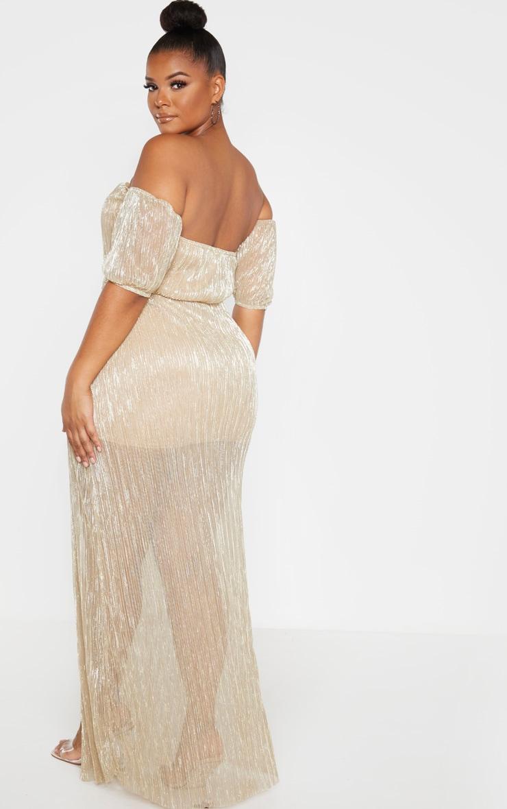 Plus Gold Plisse Bardot Split Detail Maxi Dress 2
