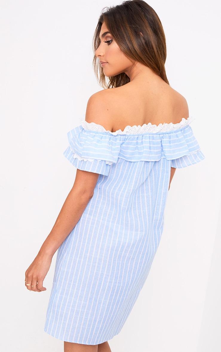 Blue Stripe Broderie Bardot Shift Dress 2