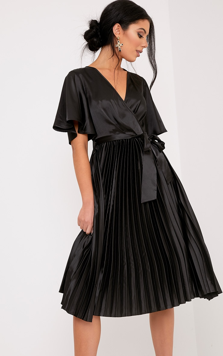 Mairee Black Satin Pleated Midi Dress 1