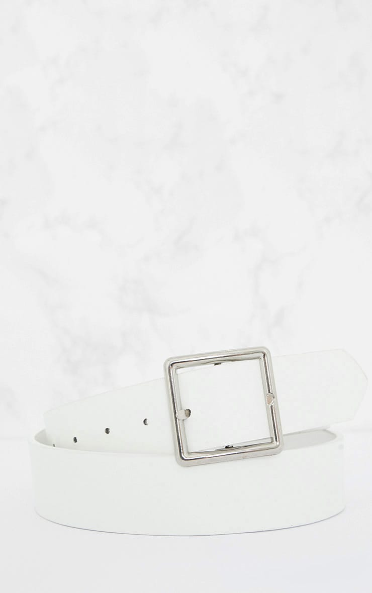 White Basic Square Buckle Belt 4