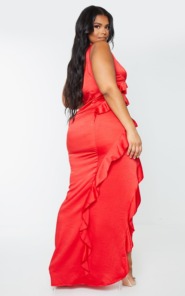 Plus Red Satin Frill Layered Midiaxi Dress 2