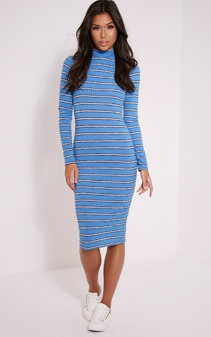 Neeta Blue Stripe High Neck Midi Dress 1