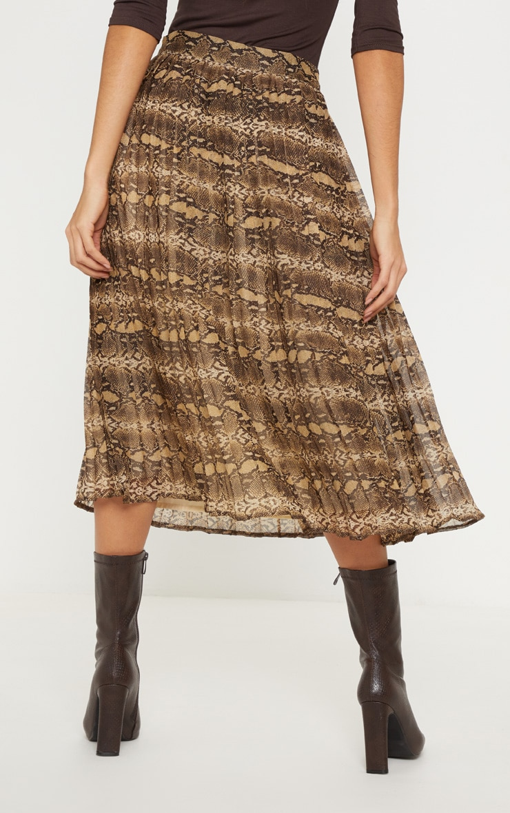 Brown Woven Snake Print Pleated Midi Skirt  4