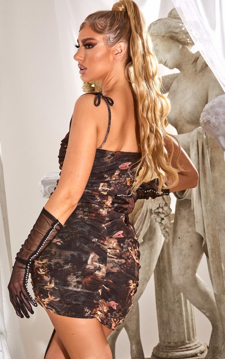 Black Renaissance Print Ruched Strappy Bodycon Dress 2