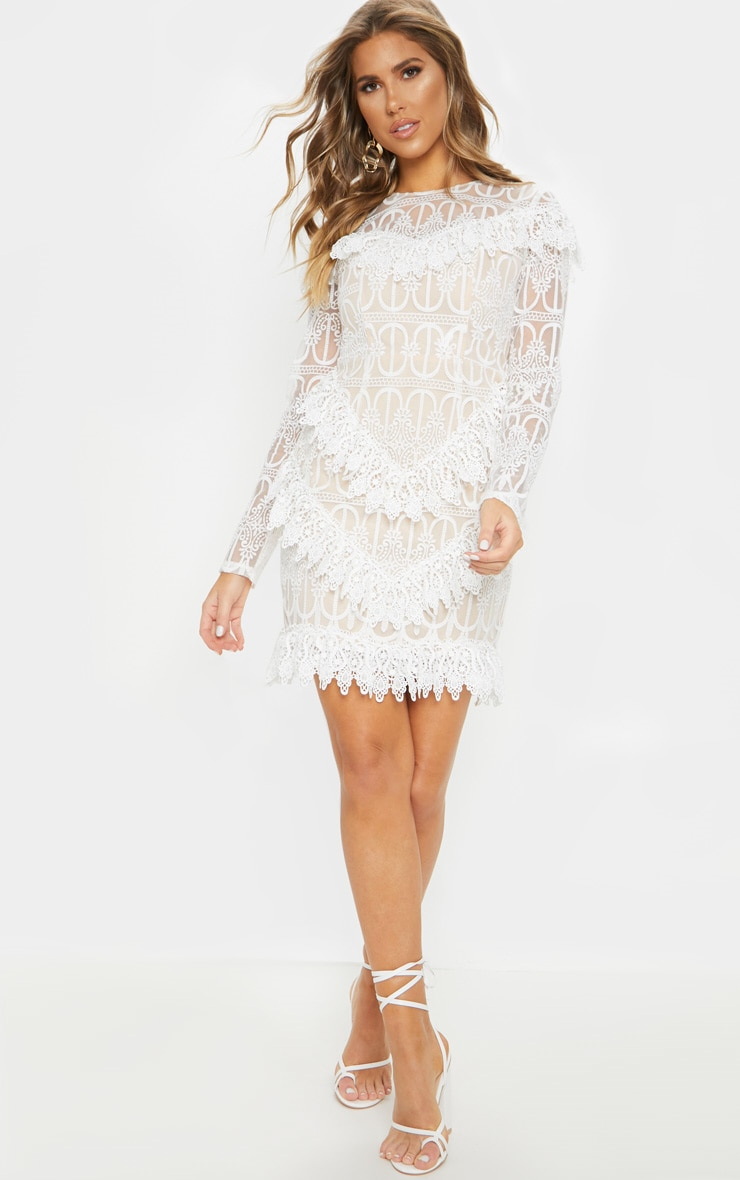 White Lace Frill Detail Long Sleeve Bodycon Dress 4