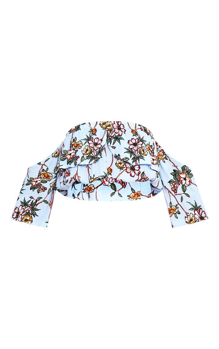 Sky Blue Floral Print Bardot Open Sleeve Crop Top  3