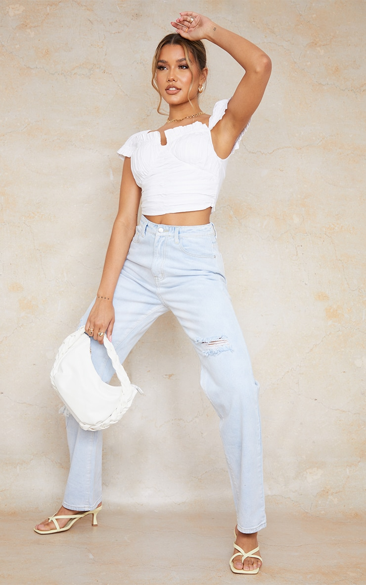 White Cotton Ruched Padded Cup Crop Top 3