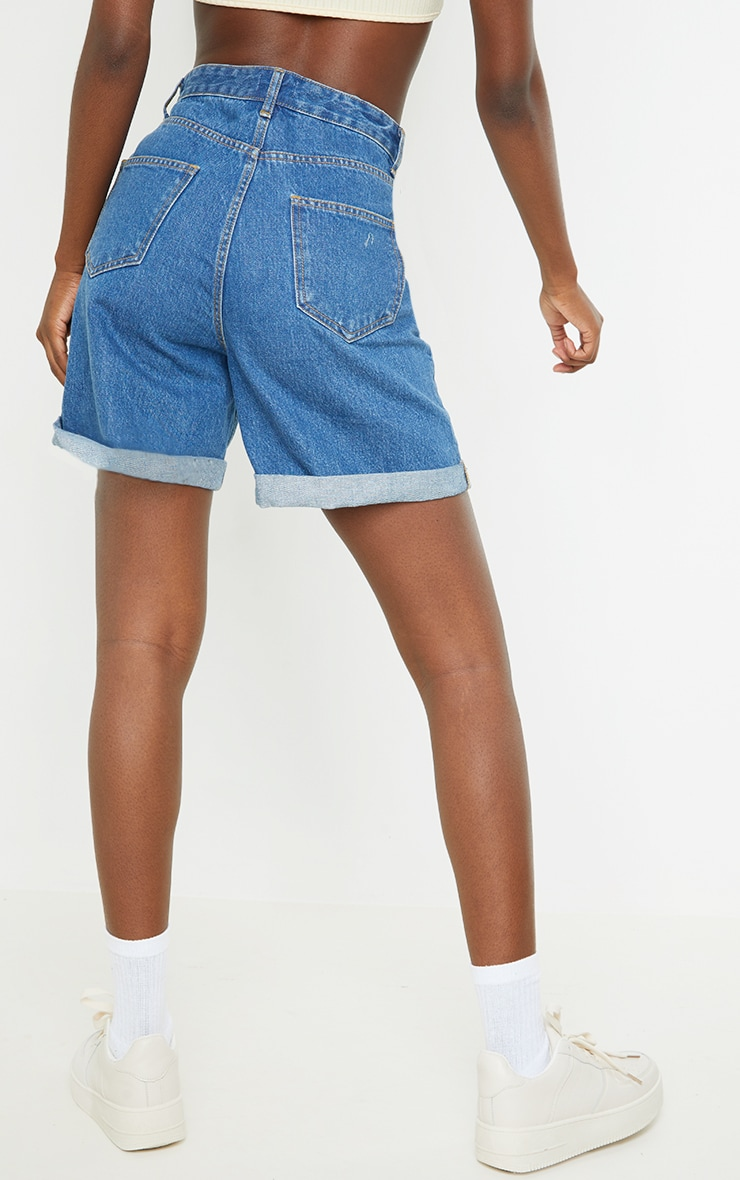 Tall Mid Blue Turn Up Hem Mom Shorts 3